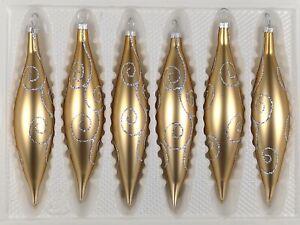 6 tlg. Glas-Zapfen Set in Classic Gold Silberne Ornamente