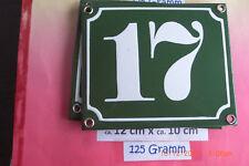Hausnummer Nr.17 weiße Zahl auf gras - grünem Hintergrund 12 cm x 10 cm Emaille