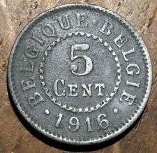 PIECE DE 5 CENTIMES 1916 EN ZINC BELGIQUE (258)