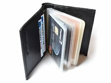 New Mens Black Leather Credit Card Note Holder Wallet Purse ID Sheep Nappa