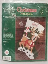 Bucilla Christmas NORTH POLE REINDEER Felt Stocking Kit #32965 Embroidery NEW