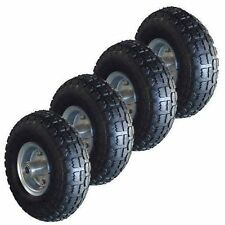 "4 X 10"" PNEUMATIC TROLLEY WHEELS CART TRUCK SACK TYRES 10 INCH BARROW WHEEL"