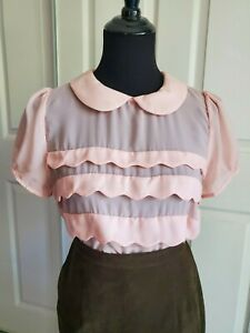 Vintage Style- Peter Pan Collar- Mustard Seed Scallop Blouse BABY PINK Size L