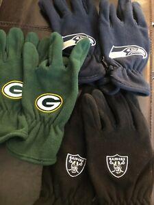 Licensed NFL  Fleece Winter Gloves NEW!! RAIDERS PACKERS SEAHAWKS MENS $24.99