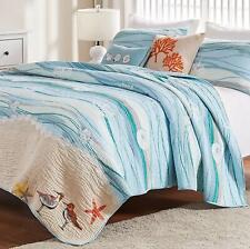 Ocean Blue Full Queen Quilt Set : Beach House Seaside Coral Waves Shell Maui
