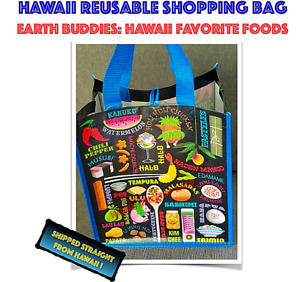 HAWAII REUSABLE SHOPPING BAG TOTE  Foods Poi LauLau Lumpia Hawaiian Beach Tote