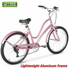 "Women Comfort Bike 26"" Pink Lightweight Aluminum Frame Cruiser Hybrid Shimano"