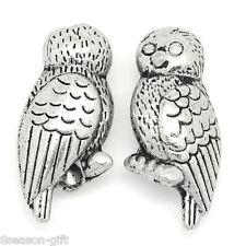 "50PCs Metal Beads Owl Shape Silver Tone 16mm x 7mm( 5/8""x 2/8"")"