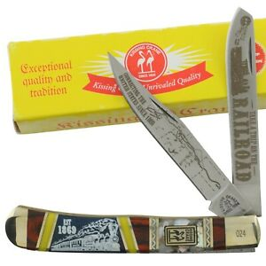 Kissing Crane Railraod Train Limited Bone Trapper Pocket Knife KC5845