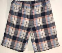 Janie and Jack Toddler Boy's 3T Shorts Plaid Adjustable Waist Cotton Zip/Button