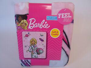 "Barbie Silky Soft Throw Blanket 40"" x 50"" Dream It Do It Space Astronaut Girl"