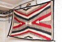 "Antique Navajo Rug native american indian weaving Textile LARGE 65""x39"" Vintage"