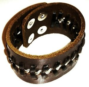 REAL LEATHER CHAIN Dark Brown Wristband Bracelet Cuff Clip Rock Gothic 4cm Wide