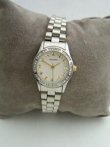 SEKONDA WATCH WOMENS 2112 STAINLESS STEEL BRACELET CRYSTALS GENUINE