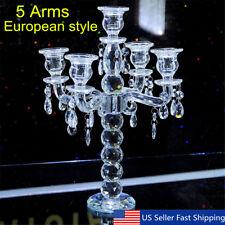 5 Arm Crystal Candelabra Pillar Candle Holder Centerpiece Candlestick Lights US