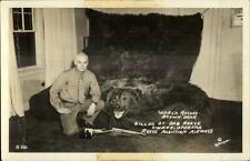 Alaska Hunting World Record Brown BearBob Reeve Aleutian Airways Gun RPPC