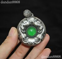 Pure Silver inlay green jade gem Ancient Dragon beast Exorcism amulet Pendant