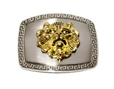 Silver Buckle with Gold Lion Head ~ Interchangeable Buckle