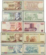 Türkei: 5 Geldscheine - 5000 / 10000 / 20000 / 100000 & 250000 Lirasi