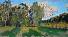 Original Russian oil on cardboard USSR Socialist realism Painting Landscape 2017