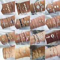 Fashion Women Boho Chain Bracelets Natural Stone Crystal Bangle Jewelry Set Gift
