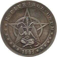 USA Teufel Luzifer Satan Diabolo Devil Pentagram Dollar Schädel Skull Münze 1881