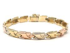 "Italian 14k Tri Color Gold Hollow Fancy Bracelet 7.5"" 7.3mm 11.7 grams"
