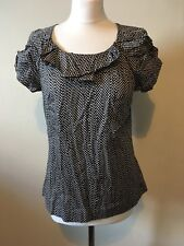 Kaliko Polka Dot Blouse Top Size 10 Fitted Classic Ruffle Black Cream