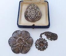 Vintage sterling silver 925 indien filigrane filé Broche Floral Pendentif Chaîne EAO