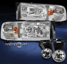 1994-2001 DODGE RAM PICKUP CHROME CRYSTAL HEADLIGHT LAMP W/DRIVING FOG LIGHT SET