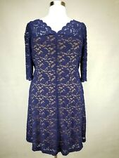 a461f89e9e9 PRETTY DRESSBARN WOMEN S BLUE 3 4 SLEEVE LINED LACE SCALLOPED DRESS PLUS Sz  14