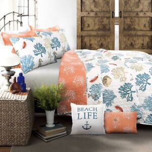 7pc KING Quilt Set COASTAL REEF FEATHER Coral reversible Nautical Beach