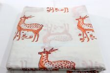 SG_467 HAND BLOCK PRINT Deer animal Cotton Fabric Indian  Sanganeri Print 5 Yard