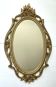 "VTG SYROCO Ornate Mirror MCM 1965 Hollywood regency flowers 29""x17""  5114 OVAL"