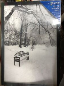 Premier 3D LED Light Up Christmas Canvas Battery 50cm x 35cm Snow Scene