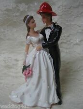 Wedding Reception Party ~Fireman Firefighter & Bride~ Fire Helmet Cake Topper