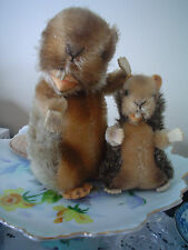 Steiff  Mohair Vintage cute Mother and Baby Beavers good condition
