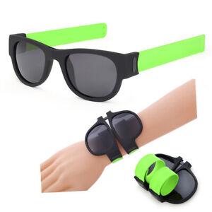 Men Slap Wristband Wrist Folding Sunglasses Trendy Foldable Eyes Protector