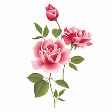 Removable Romantic Pink Rose Flower Wall Sticker Applique Room Decor Decal