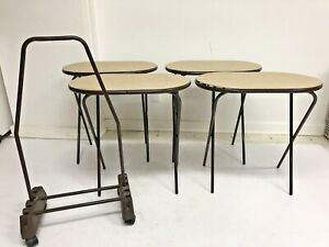 Vintage Cosco Folding Snack Table Set w Rolling Storage Stand side tv cart brown