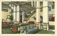 Pensacola Florida San Carlos Hotel Interior Lobby View 1930s Linen Postcard