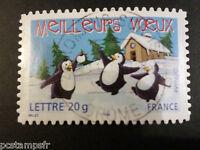 FRANCE 2005, timbre 70-3856, MANCHOTS, VOEUX, oblitéré, PENGUIN, VF stamp