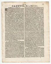 1701, March 12, Original French Gazette, Preparation to the war