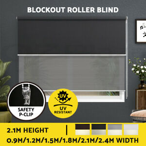 Roller Blinds Blockout Blackout Curtains Window Double Dual Shades 0.9-2.4X2.1M