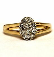 14k yellow gold .20ct SI2 H womens diamond cluster ring 3.3g estate vintage