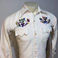 Vtg 60s 70s MENS SMALL Shirt Embroidered Rockabilly Woodstock Hippie Disco Boho