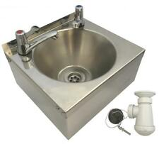 Squid Sink With Lever Taps Stainless Steel Hand Wash Basin Waste Plug & Trap