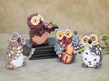 Owls Playing Musical Instruments, Garden Decoration Items for Home Set of 4