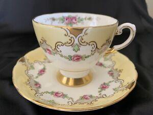 Fine Bone Chine Made England Teacup Set With Tiny Rosebuds Gold Etching Precious