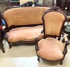 Antique American Walnut Empire Sofa and Matching Armchair